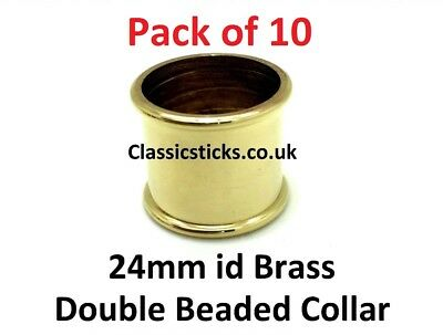Collar Brass Double Beaded  24mm id Pack 10, walking stick making