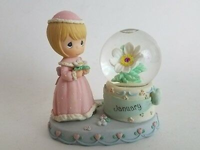 PRECIOUS MOMENTS January  Birthstone Snow Globe Waterball 2000 PMI Enesco
