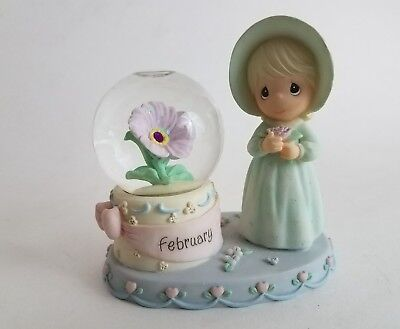 PRECIOUS MOMENTS February Birthstone Snow Globe Waterball 2000 PMI Enesco