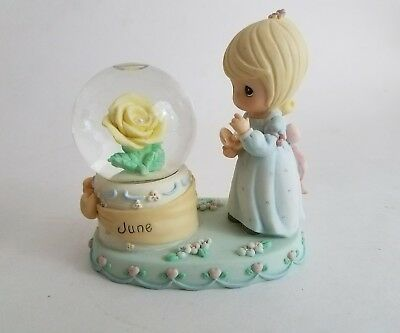 PRECIOUS MOMENTS June Birthstone Snow Globe Waterball 2000 PMI Enesco
