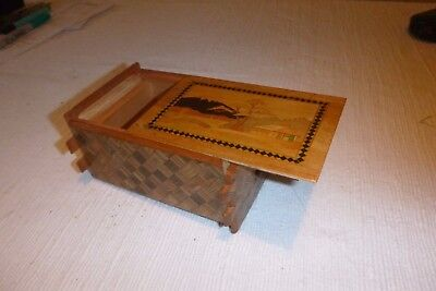 Splendid, Super Rare 42 Move Vintage Inlaid Japanese Wooden Marquetry Puzzle Box