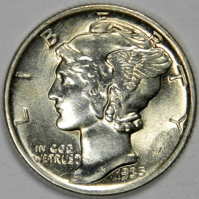 1935 Mercury Dime - Nice Bold Bu Uncirculated Priced Right! (Inv#a)