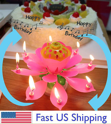 ROTATING Lotus Candle Birthday Flower Musical Floral Cake Candles W Music Magic