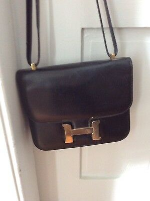 Vintage Black Leather Lederer Handbag Copy Of Hermes Constance Made In Italy
