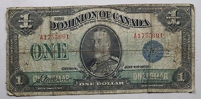 1923 Dominion of Canada Large Bank Note Blue Seal