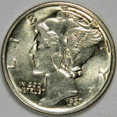 1937 Mercury Dime - Nice Bold Bu Uncirculated Priced Right! (Inv#7)