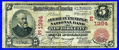 --Rare 1902 $5 National Currency (( Red Seal )) New york City # K139809