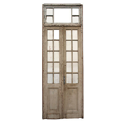 Salvaged Pair of Antique Doors with Transom, NED736