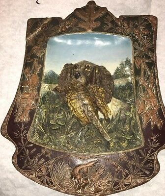 Stunning Large Ws&s Hunting Scene Plaque Dog Bird Antique Nice!