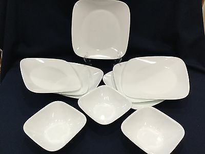 10 Pc set Corelle Square Pure White 4 Dinner Plate 3 soup/ cereal bowls 3 Salad