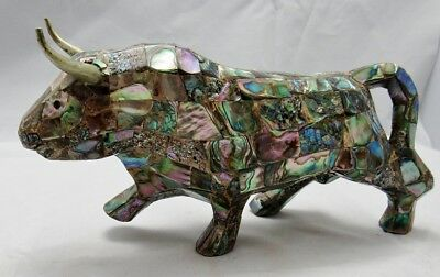"Vintage Mexico Mosaic Abalone Shell Toro Bull Display Figure Cow 9.5"" Long! HTF!"