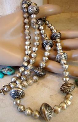 Old Pawn Vtg HEAVILY STAMPED NAVAJO MERCURY DIMES ANTIQUE STERLING BEAD Necklace