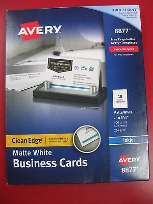 "NEW!!  AVERY Matte White Clean Edge InkJet Business Cards 2""x 3.5"" 400ct - 8877"