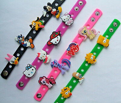 SHOE CHARM BRACELETS SILICONE (21cm) - inspired by SIMPSONS, KITTY, MICKEY, PONY
