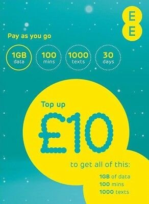EE Pay As You Go Sim Card £10 Everything New Pack 1st Class Ship Free