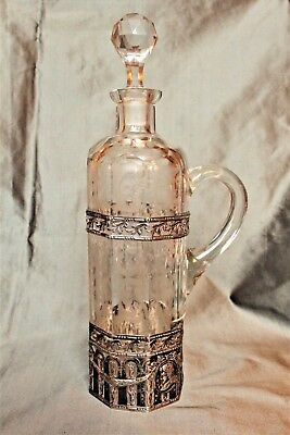 Silver Mounted German Cut & Ground Glass Claret Decanter- Wolf &Knell c. 1895