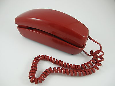 Vintage Red Rotary Dial Phone Trimline Telephone ITT Rings No Dial Tone