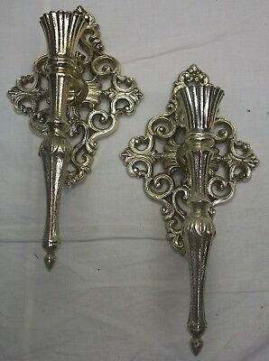 "2 Vintage Homco / Home Interiors Mediterranean Style Metal Sconces - 11"" Tall"