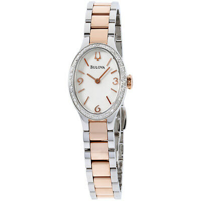 Bulova Diamond White Dial Stainless Steel Ladies Watch 98R190
