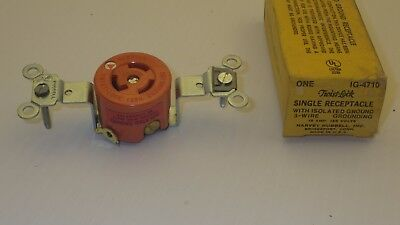 Hubbell Ig-4710 Single Receptacle W/ Isolated 3-Wire Grounding 20A 125 V ~Nib