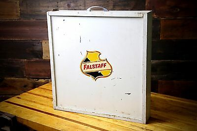 Vintage 1950s Falstaff Beer Logo Wood Safe Drawer Advertising Case box W/ Keys