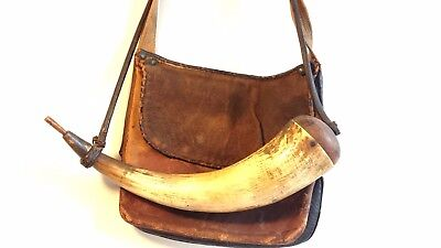 Original antique pouch and powder horn early 19th century.