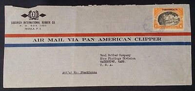SCARCE 1941 Philippines Pan American Clipper Airmail Cover ties 1P stamp to USA