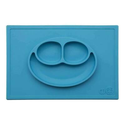 ezpz Happy Mat Toodler Kids Feeding Silicone Placemat Dinnerware - Blue