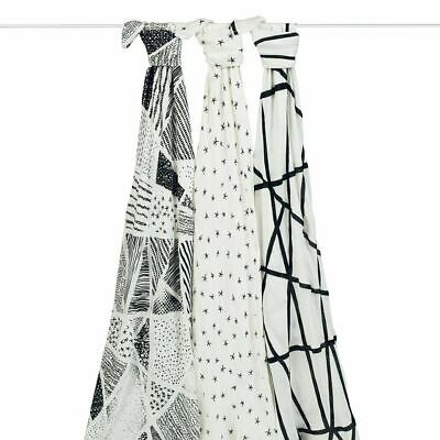 NEW aden+anais Midnight Black White Silky Bamboo Baby Muslin Swaddles