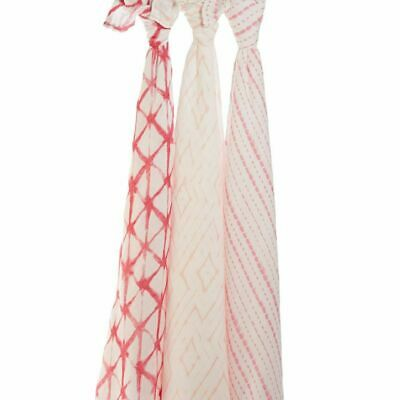 NEW aden+anais Berry Pink Shibori Silky Bamboo Baby Muslin Swaddles