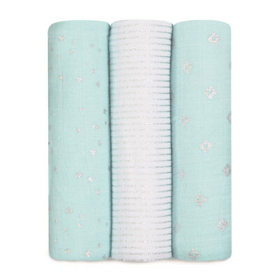 NEW aden + anais  3 Pack Classic Swaddles - Metallic Skylight