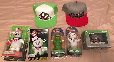 Lot Of Ghostbusters Hat bobbleheads Ecto 1 StayPuft Neca Slimer TITAN NEW