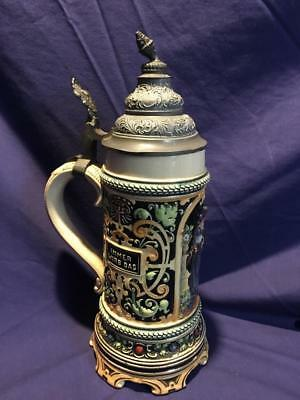 """Antique German Stein 10"""" Pewter Lead Top Marked Germany"""
