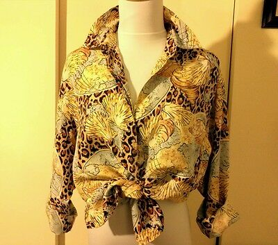 VTG 80's 100% SILK TOP by SLB PRE OWNED WOMAN'S TAILORED  OR SEXY TIED BLOUSE SM