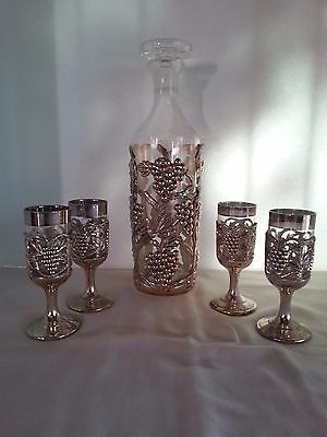 Vintage 5 Piece Set Holiday Imports Silver Plated Decanter & Snifters