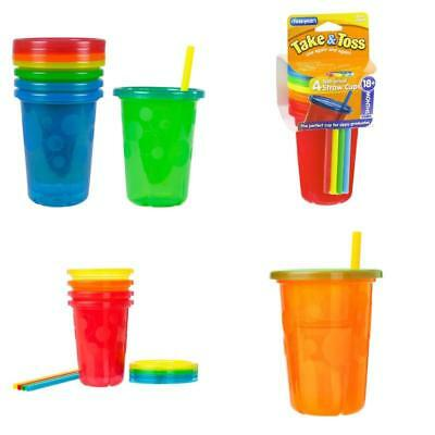 4Pack Spill-Proof Plastic Cups Tumbler With Straws Lids Sippy Baby Toddler Kids.
