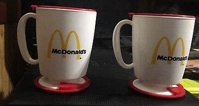 (2) Vintage McDonalds Whirly Travel Mug Plastic Coffee Cup Red & White