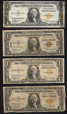 Four (4) Imperfect 1935 $1 Hawaii and North Africa Notes