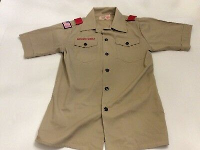BSA Boy Scouts Of America Official Short Sleeve Uniform Shirt Size Youth L