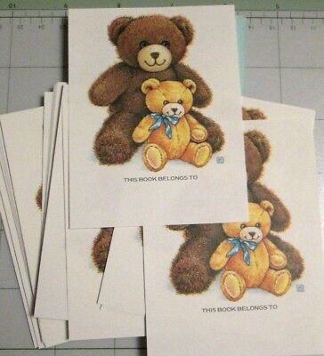 48 vtg Antioch TEDDY BEARS book plates new gummed name markers stickers 3 x 4