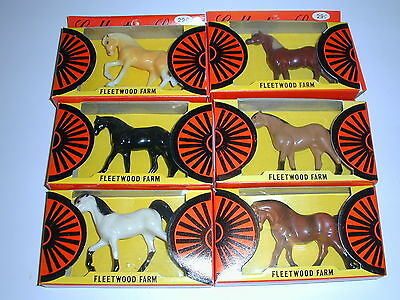Vintage 60's FLEETWOOD TOYS HORSES 6 DIFFERENT BREEDS New in Boxes