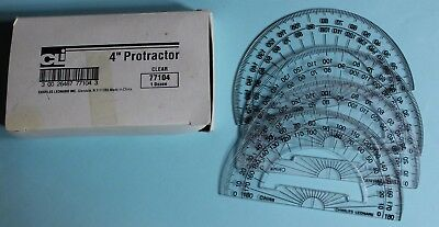 """Clear Plastic 4"""" Rule Edge Open Center Protractor Package Of 12"""