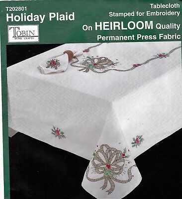 """CHRISTMAS TARTAN"" tablecloth to cross stitch.Stamped.LARGE 135 x 225CM SALE !"