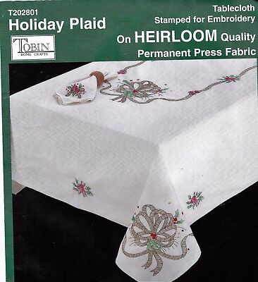 "Large ""CHRISTMAS TARTAN"" tablecloth to cross stitch. Stamped.135 x 225CM -SALE !"