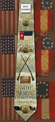 New 64th North Carolina Infantry poly satin neck tie