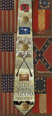 New 12th South Carolina Infantry poly satin neck tie