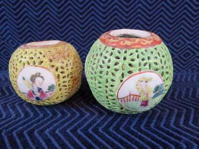 (2) Antique Chinese Hand Painted Ceramic Balls What are These?