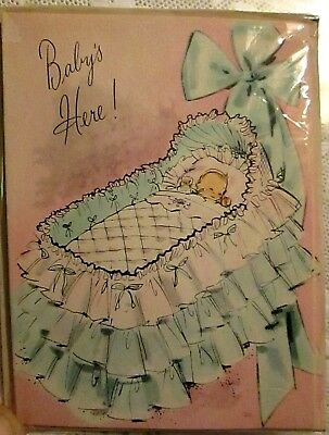 Vtg mid century Greetings Inc Baby Birth Announcement Cards pink blue bassinet