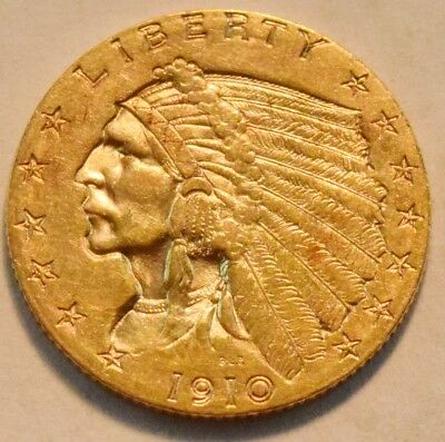 1910 $2.50 Gold Indian Quarter Eagle, Higher Grade 2 and 1/2 Coin, Nice Type