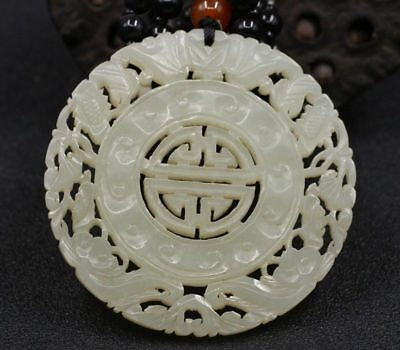Chinese Exquisite Hand-carved flowers carving Hetian jade Pendant